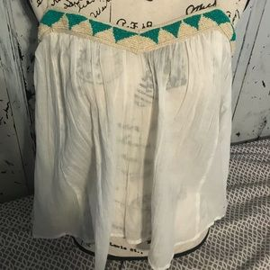 White beaded gold and turquoise American eagle top